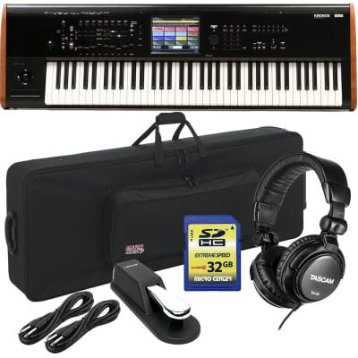 Korg Kronos 2 73-key Synthesizer Workstation, Gator GK76 Keyboard Case, Sustain Pedal, (2) 1/4 Cables, Tascam TH02, SD Card 32GB Bundle