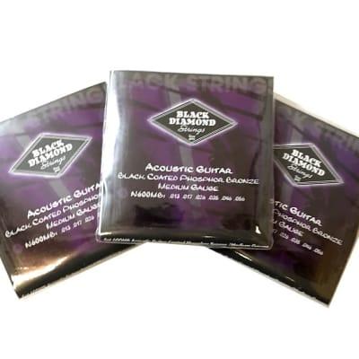 Black Diamond Guitar Strings 3-Pack Acoustic Medium Black Coated 13-56