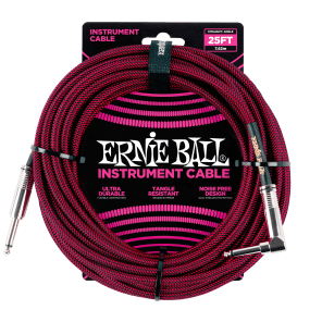 """Ernie Ball P06062 1/4"""" TS Straight to Right-Angle Braided Instrument Cable - 25'"""