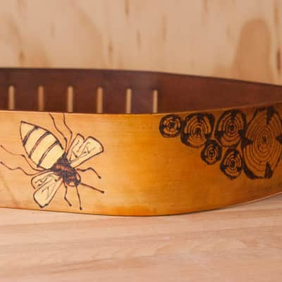 Guitar Strap - Worker Bee Leather Guitar Strap by Moxie and Oliver