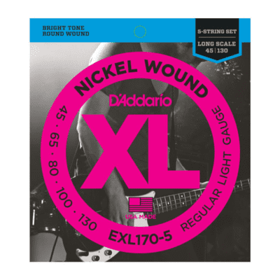 D'Addario EXL170-5 Nickel Wound Long Scale Bass Guitar Strings, Light Gauge