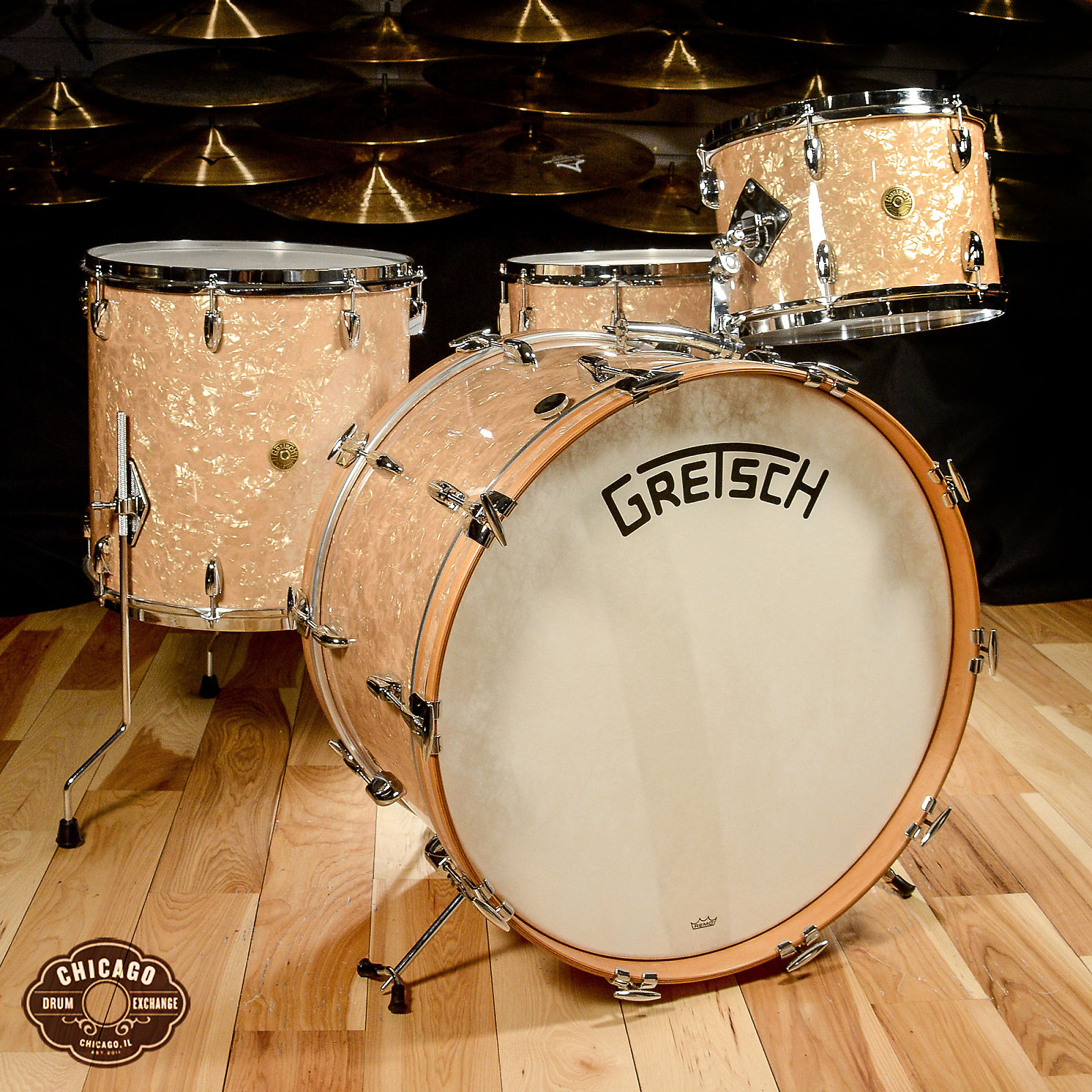 Gretsch Broadkaster 4pc Drum Kit 13/16/24/6 5x14 Bomber Vintage Build  Antique Pearl