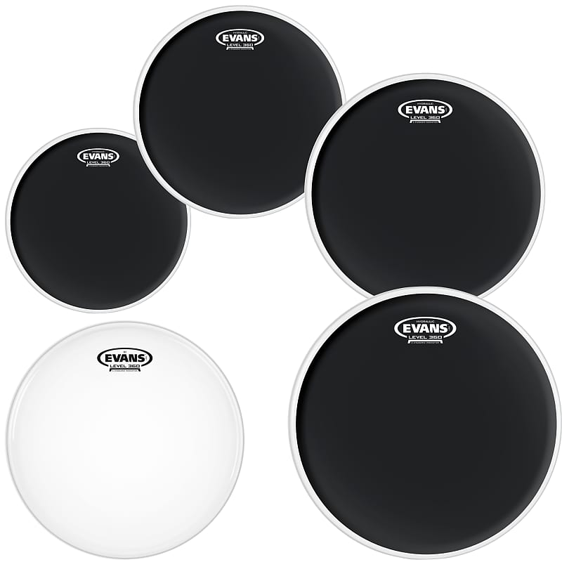 Evans Black Hydraulic Drumhead Tom Pack: 10, 12, 14, 16 Inch Heads, with  14