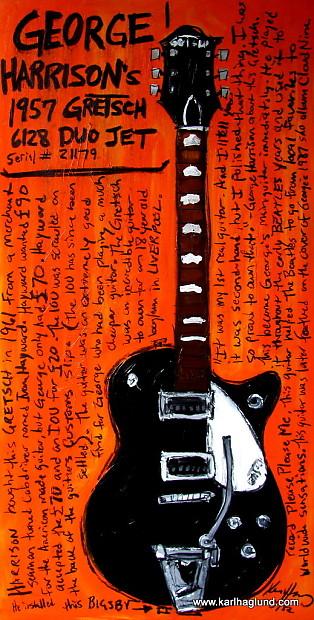 george harrison 1957 gretsch duo jet 11x17 unframed guitar reverb. Black Bedroom Furniture Sets. Home Design Ideas