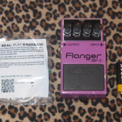 used Boss BF-2 Flanger (Green Label Japan) 1985 + battery, strings, & copy of paperwork (NO box)