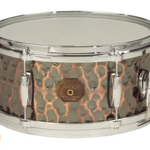 "Gretsch G4164HC USA Hammered Antique Copper 6.5x14"" 10-Lug Snare Drum"