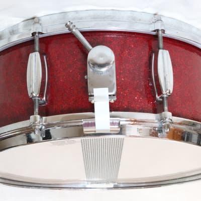 Vintage Japanese (MIJ) 5.5x14 Micro-Sensitive Snare Drum, Red Sparkle, 8 lugs -1960s