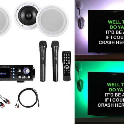 "Rockville RPA70WBT Bluetooth Karaoke Amplifier+(4) 8"" Ceiling Speakers+Mics"