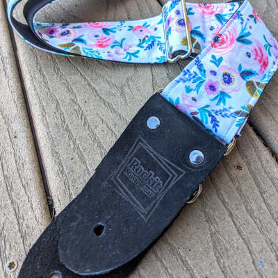Rockit Music Gear Pink, Teal, Purple, Green and White Spring Floral Print Handmade Guitar Strap White