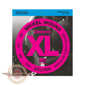D'Addario EXL170S Nickel Wound Short Scale Light Bass Strings .045-.100