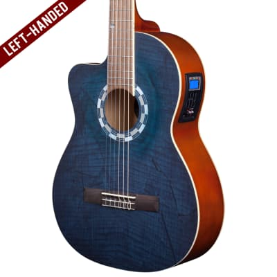 Lindo Left-Handed 960CEQ Picasso Blue Classical Electro-Acoustic Guitar & 10mm Padded Gigbag for sale