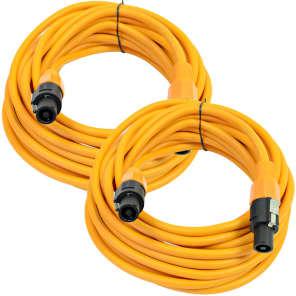 Seismic Audio TW12S35ORANGE-PAIR 12-Gauge Speakon to Speakon Speaker Cables - 35 (2-Pack)