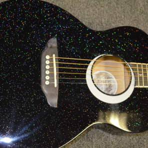 Luna Aurora Borealis 3/4 Size Acoustic Guitar Black Sparkle