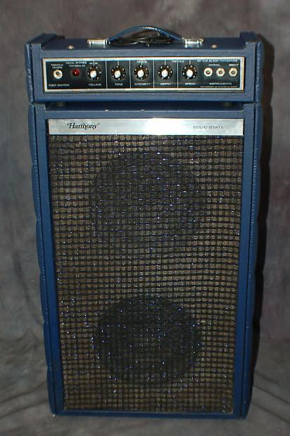 1972 Harmony Piggy Back Guitar Amp Model H1720 Blue Tuck N Roll Works ReverbTremelo