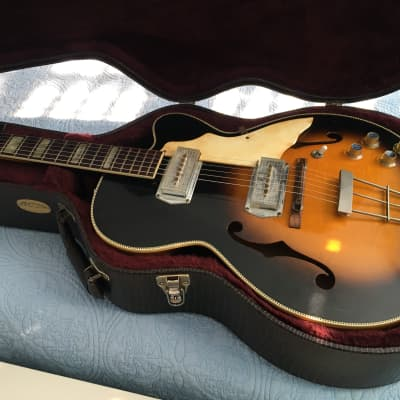 1961 Kay Swingmaster K672 thin hollow body Sunburst archtop with Martin Alligator case for sale