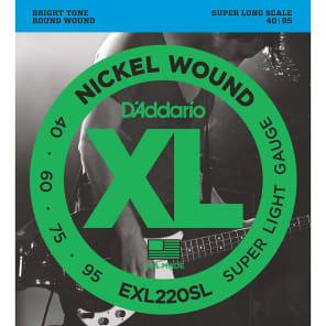 D'Addario EXL220SL Nickel Wound Bass Guitar Strings Super Light 40-95 Super Long  Scale