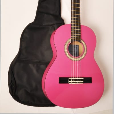 BEGINNER CLASSICAL ACOUSTIC GUITAR 3/4 SIZE (36 INCH) W/CARRY BAG OMEGA CLASSICAL KIT 3/4 MPN PINK for sale