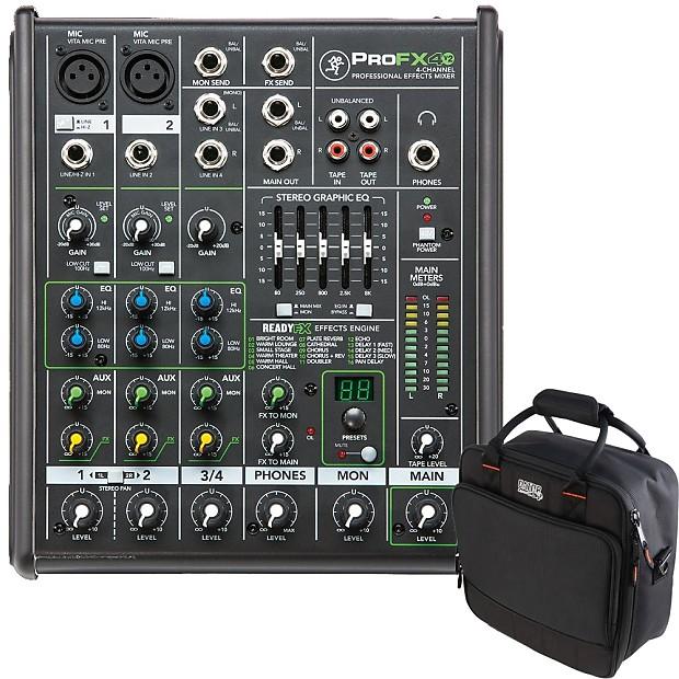 4415d76fdf Mackie ProFX4v2 4-Ch Live Sound Analog Mixer + Gator Padded Equipment Carry  Bag