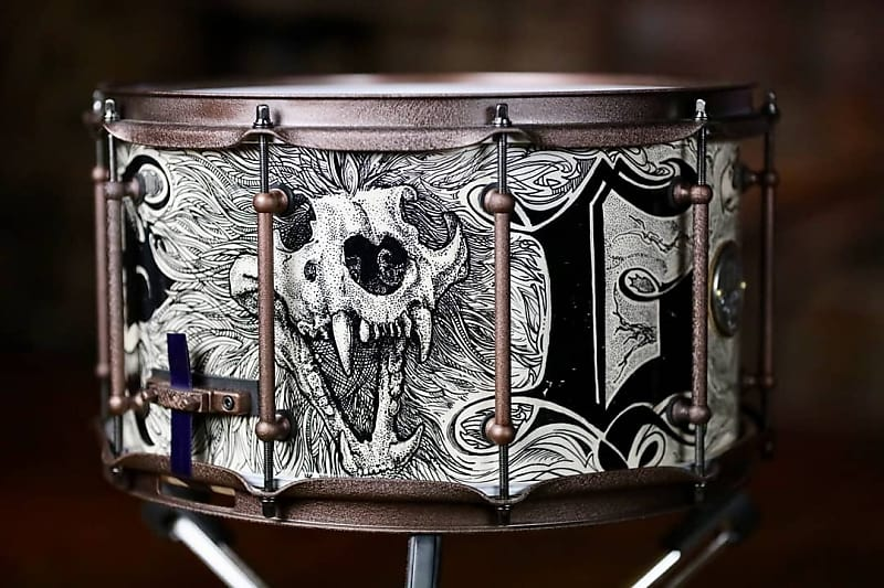 HHG Drums 14x7 Maple Stave 2018 Hand Painted Tattoo Art