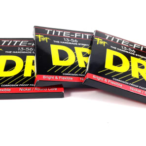 DR Guitar Strings Electric Tite-Fit 3 Pack 13-56 Mega Heavy Handmade USA
