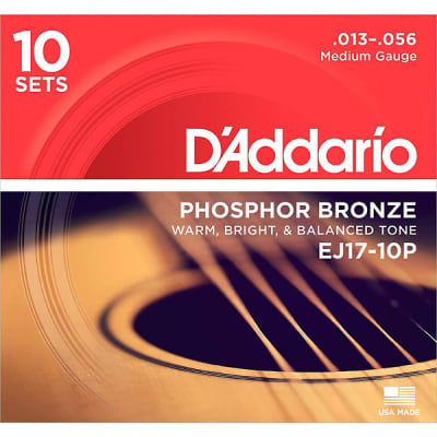 D'Addario EJ17 Acoustic Medium Guitar Strings 10-Pack