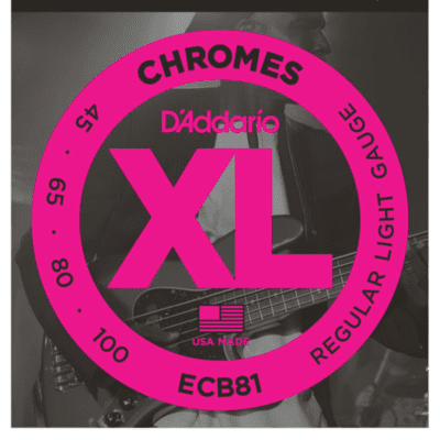 D'Addario ECB81 Chromes Flat Wound Regular Light Bass Strings 45-100