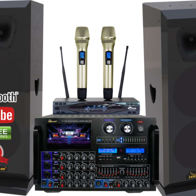 """IDOLmain 8000W Pro Mixing Amplifier W/ 3000W 12"" Speakers and Dual Wireless Mics Karaoke System"