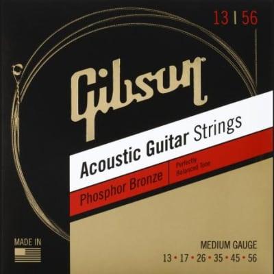 Gibson #SAG-PB13-1   -  Acoustic Guitar Strings, Phosphor Bronze, Medium Gauge 13-56