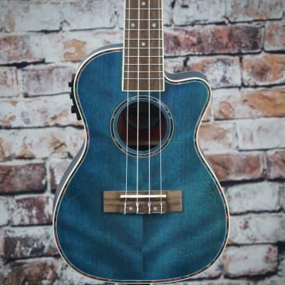 Amahi Acoustic/Electric Concert Ukulele   Dark Blue for sale