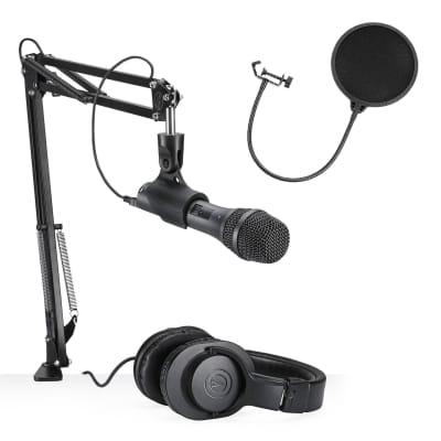 Audio Technica USB/XLR Podcast Kit & Streamer Starter Package w/ Pop Filter Bundle
