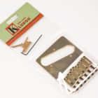 Kluson 4 hole 6 Saddle Telecaster Drop in Upgrade Bridge, Brass Saddles, Gold image