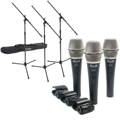 Dynamic Live Microphone & Mic Stand Bundle (3 Pack)
