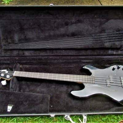 Hohner  PJ Bass Fl Fretless bass guitar, 1980's, Black, 2 Pu, Case for sale