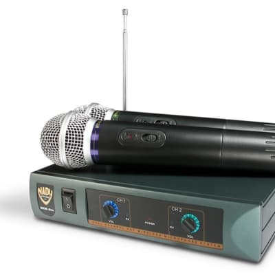 Nady DKW-Duo HT Dual Handheld Microphone VHF Wireless System, Band 206.35(P), 212.10(R)