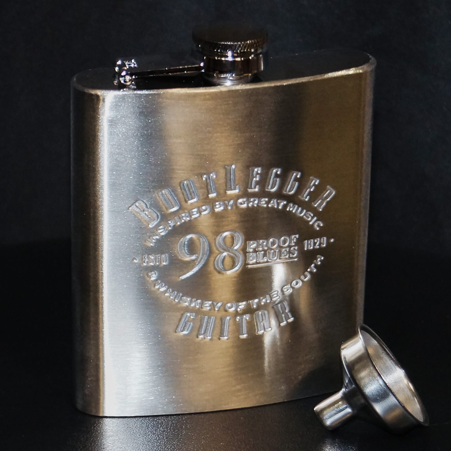 Bootlegger Guitar  Stainless Steel Hip  Flask and Funnel 2020
