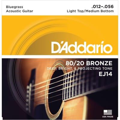 D'Addario EJ14 80/20 Bronze Acoustic Guitar Strings, Light Top / Medium Bottom / Bluegrass Gauge