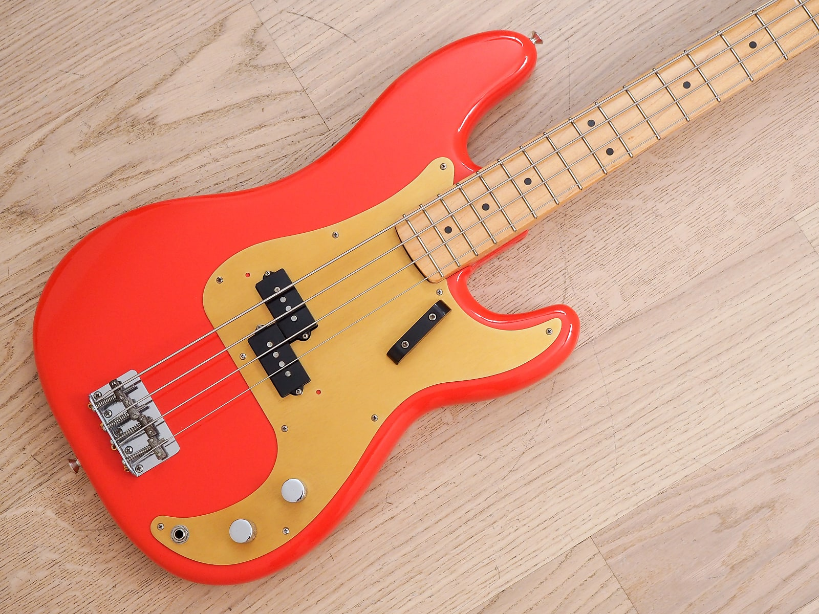 1986 Fender American Vintage '57 Precision Bass Fiesta Red Gold Guard w/ Case