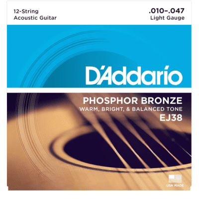 D'Addario EJ38 Phosphor Bronze 12-String Acoustic Guitar Strings, Light, 10-47