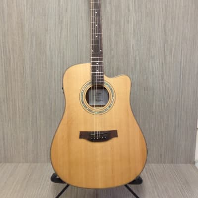 Klema K300DC-CE Satin / Natural Solid Cedar Top,Dreadnought Acoustic Guitar,Cutaway,EQ+ Gig Bag for sale