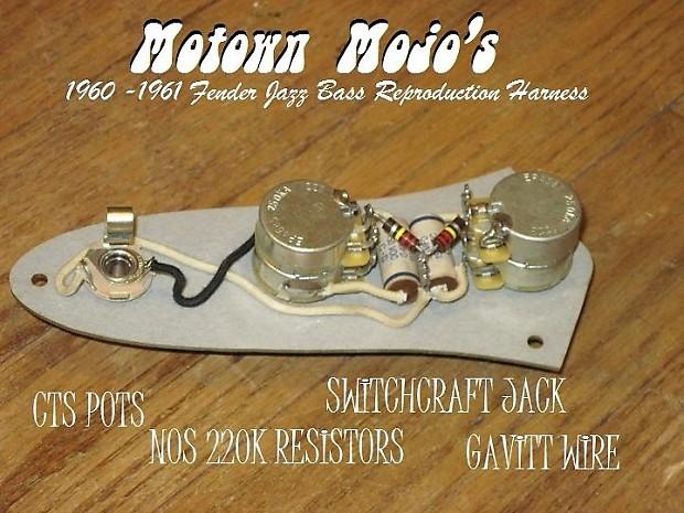 Motown Mojo 1960- 1961 Fender Jazz Bass Wiring Harness ...