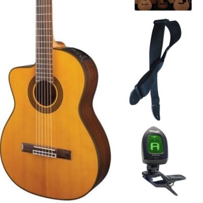Takamine Lefty GC5CELH-NAT Acoustic Electric Classical Cutaway Guitar, Bundle for sale