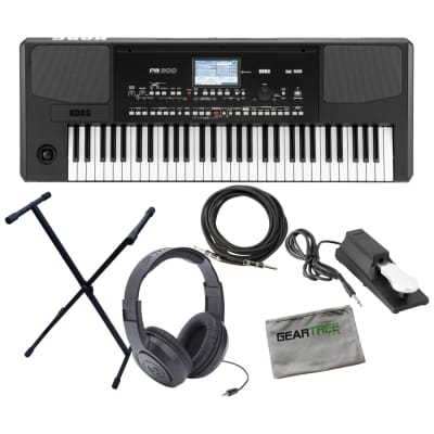 Korg PA300 61-Key Professional Arranger Keyboard w/ Sustain Pedal, Headphones, Cable, Stand, Cloth