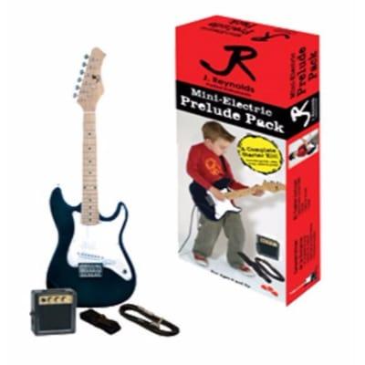New J. Reynolds JRPKSTBL Kids 1/2 Size Mini Electric Guitar Beginner Pack, Blue for sale