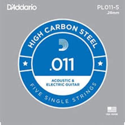 D'Addario PL011 Plain Steel Guitar 5 Pack .011