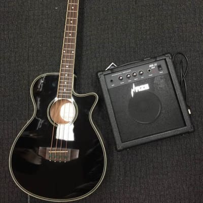 4/4 Haze FB-711BCEQ  4-String Electric-Acoustic Bass Guitar Amp Stand Pack!HSB-15,GS001B,FB-711CEQ| - black for sale