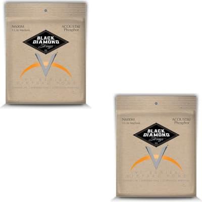 Black Diamond Guitar Strings 2 Pack Acoustic Medium Phosphor Bronze N600M 13-56 for sale
