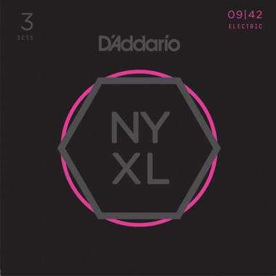 D'Addario NYXL0942-3P Nickel Wound Electric Guitar String 3-Pack, Super Light Gauge