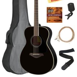 d7cc7f9194 Yamaha FS820 Acoustic Guitar - Black GUITAR ESSENTIALS BUNDLE | Reverb