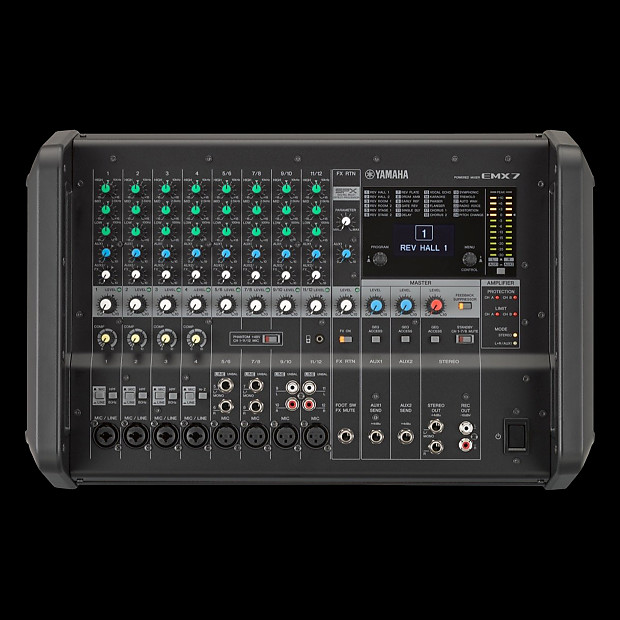 Yamaha emx7 12 input stereo powered mixer dsp effects for Yamaha refurbished warranty