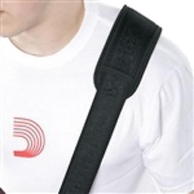 Planet Waves Black Satin woven guitar strap with built in shoulder pad image